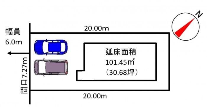 分譲①(メイン画像左)区画図 駐車スペース2台分あり!