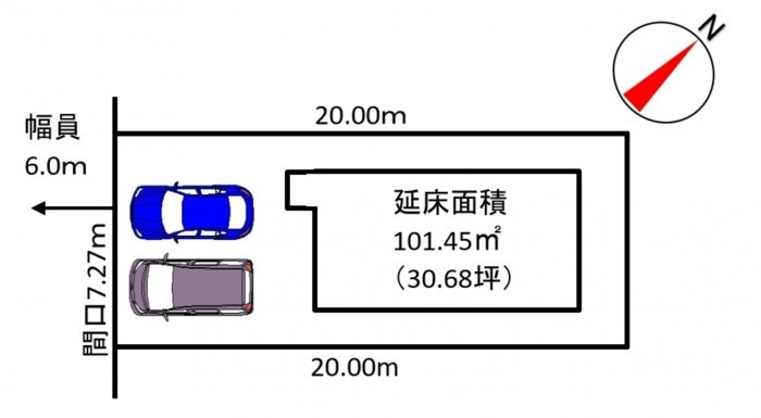 分譲②(メイン画像右)区画図 駐車スペース2台分あり!