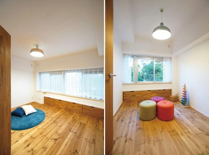 お部屋は2室。こちらの窓の向こうにも公園の緑が広がります。 主寝室と子ども部屋としてお使いいただけます。